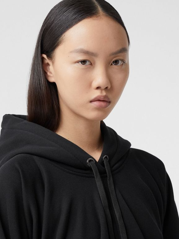 Location Print Gathered Cotton Oversized Hoodie in Black | Burberry United Kingdom - cell image 1
