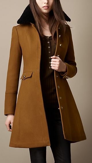 Shearling Collar Military Coat