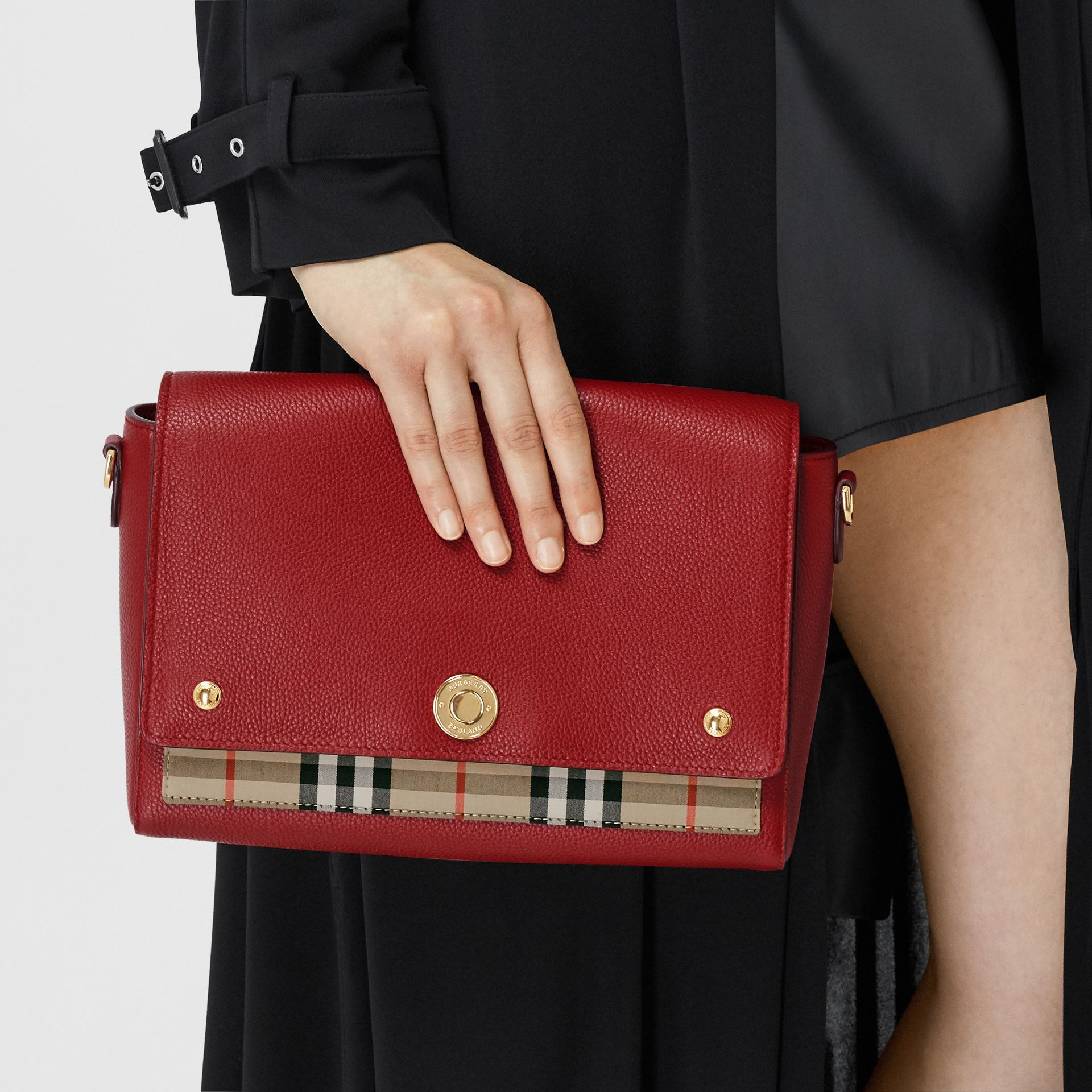 Leather and Vintage Check Note Crossbody Bag in Dark Carmine - Women | Burberry United States - gallery image 8