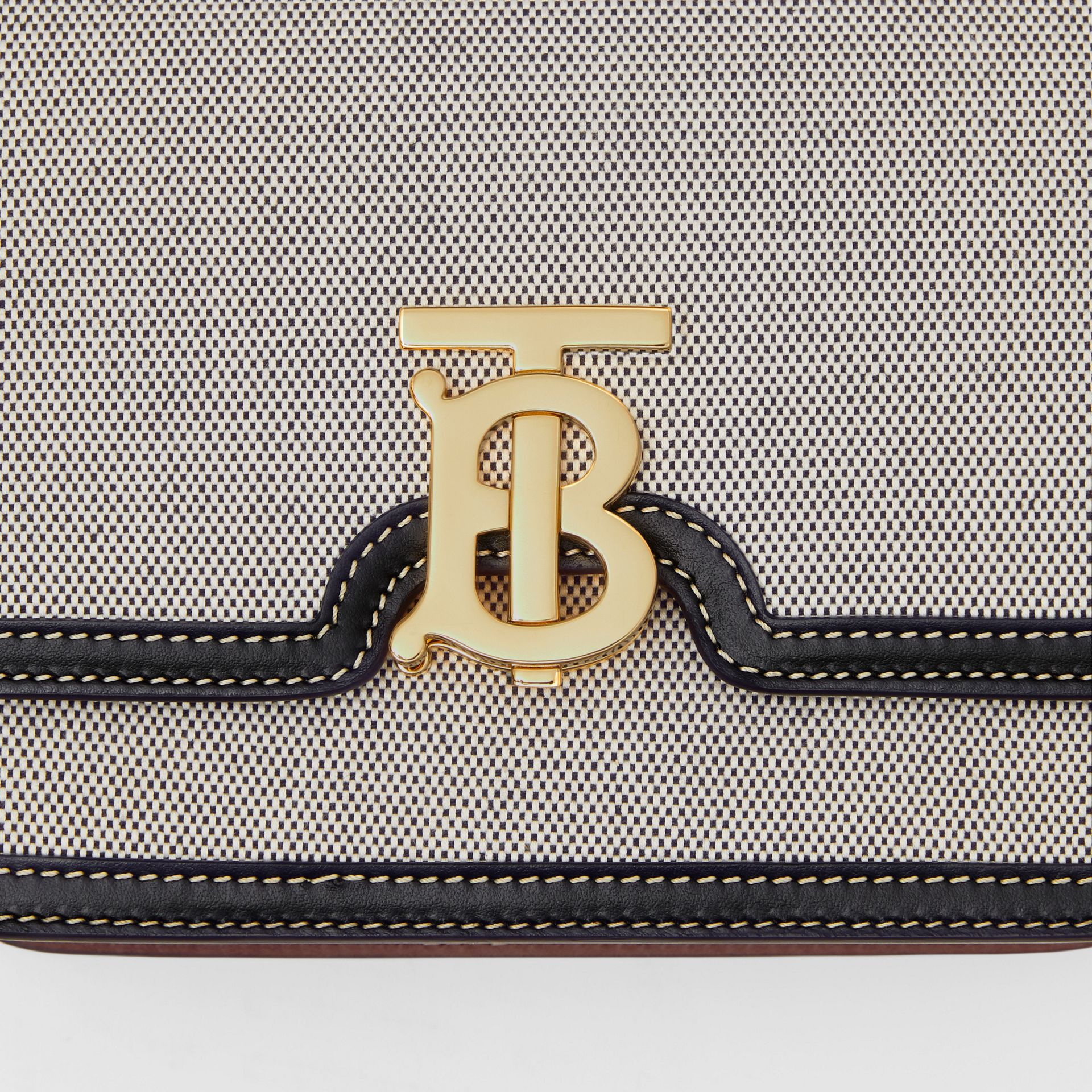 Small Tri-tone Canvas and Leather TB Bag in Black/tan - Women | Burberry United States - gallery image 1