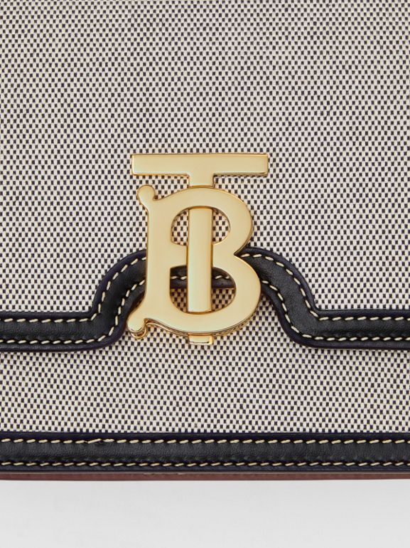 Small Tri-tone Canvas and Leather TB Bag in Black/tan - Women | Burberry United States - cell image 1