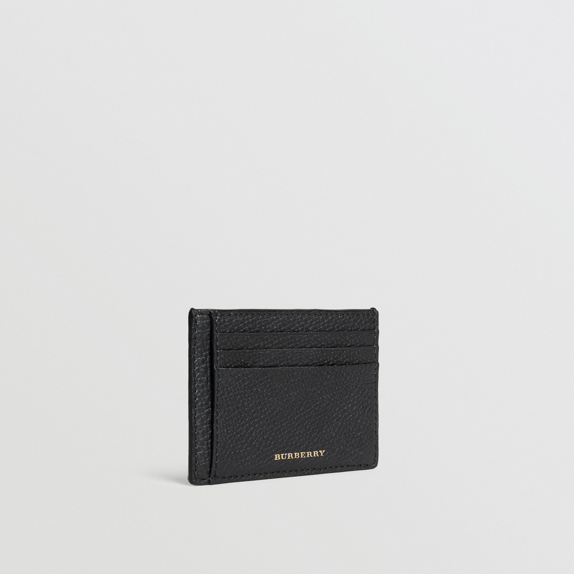 House Check and Leather Money Clip Card Case in Black - Men | Burberry - gallery image 1