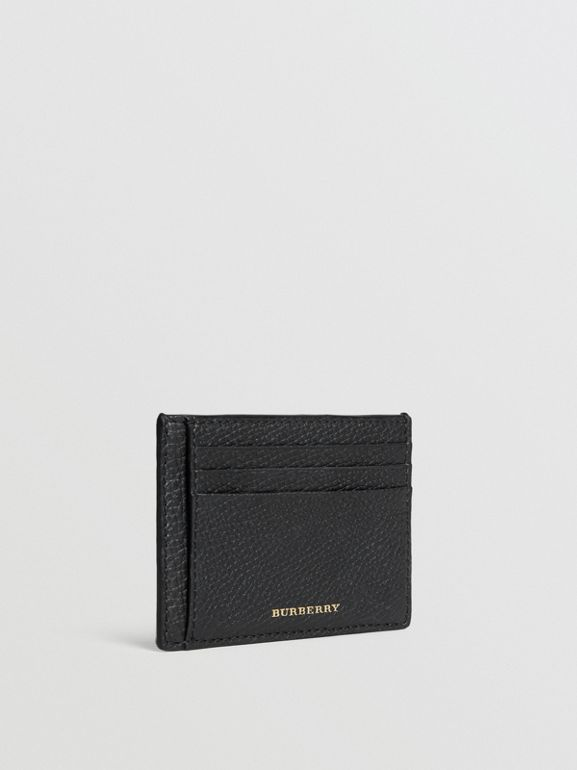 House Check and Leather Money Clip Card Case in Black - Men | Burberry - cell image 1