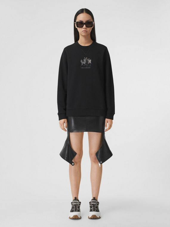 Embroidered Deer Cotton Oversized Sweatshirt in Black