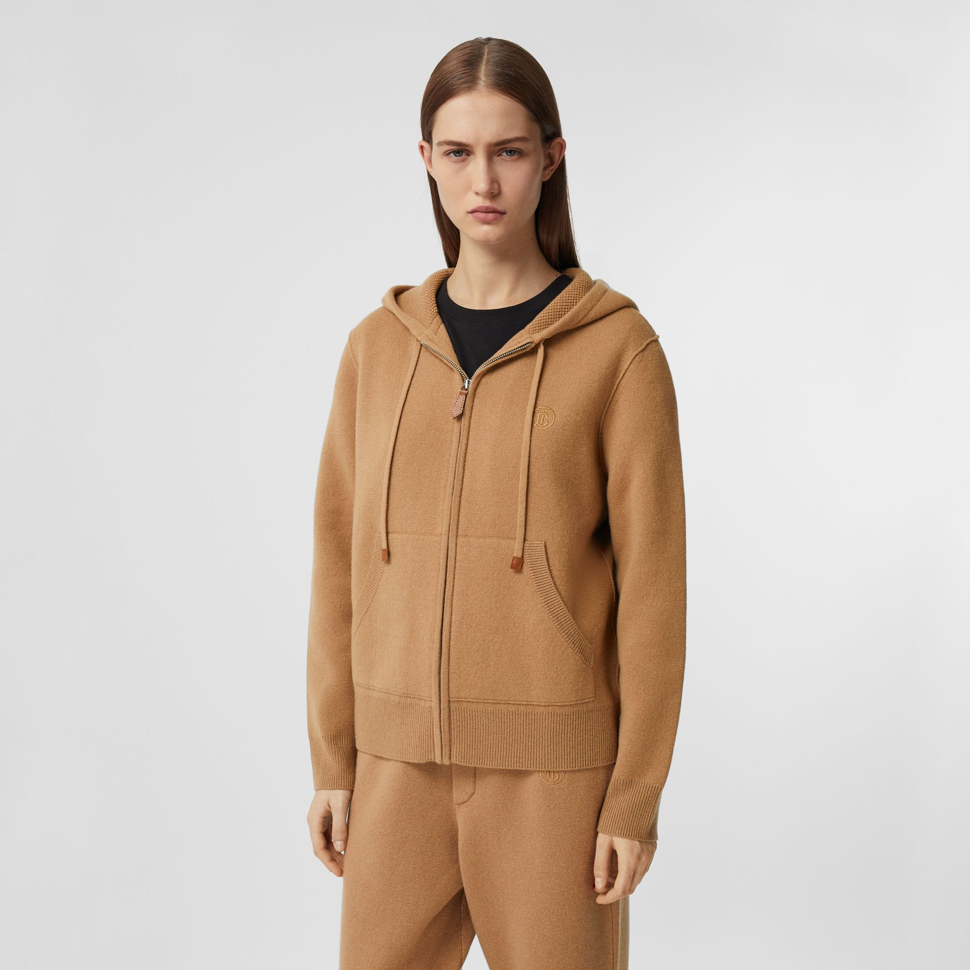 Monogram Motif Cashmere Blend Hooded Top in Camel - Women | Burberry - gallery image 5