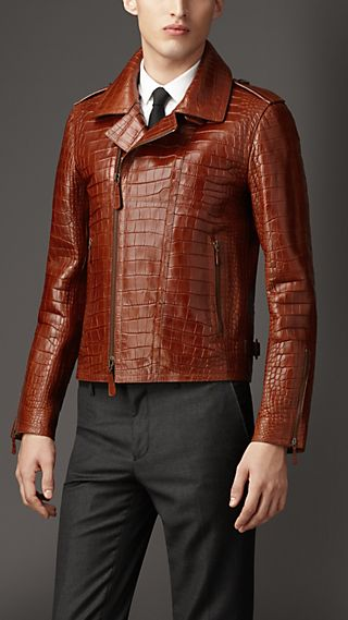 Alligator Leather Biker Jacket