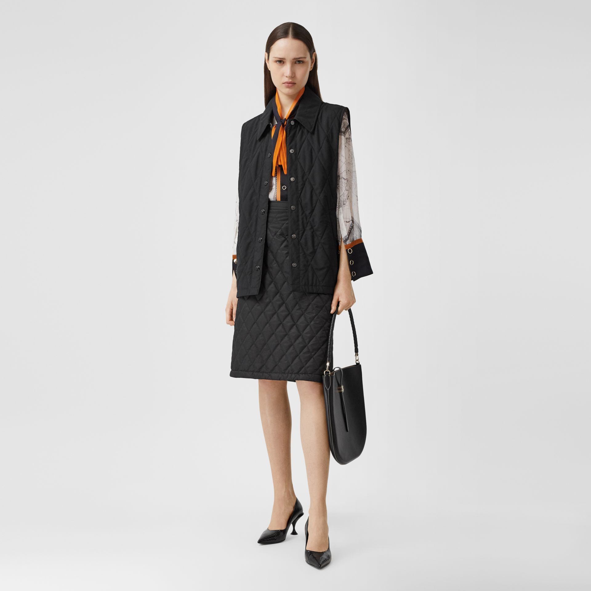 Diamond Quilted Gilet in Black   Burberry United Kingdom - gallery image 6