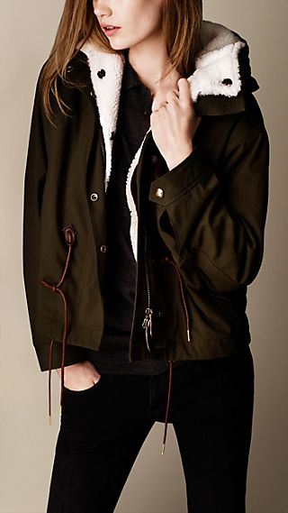 Shearling Detail Parka Jacket with Warmer