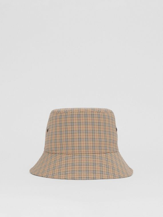 Check Technical Cotton Bucket Hat in Archive Beige