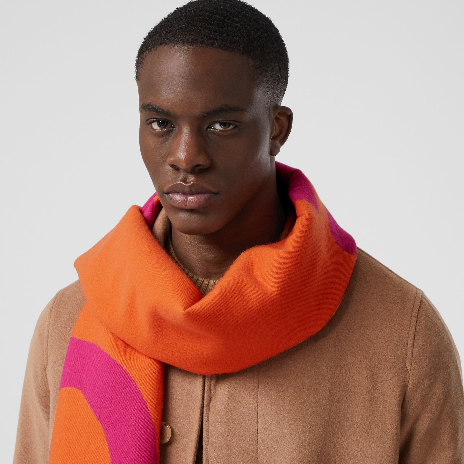 Love and Logo Wool Silk Jacquard Scarf in Orange | Burberry - gallery image 3