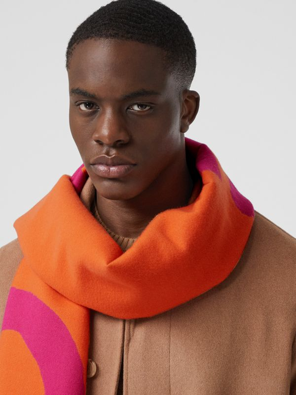Love and Logo Wool Silk Jacquard Scarf in Orange | Burberry - cell image 3