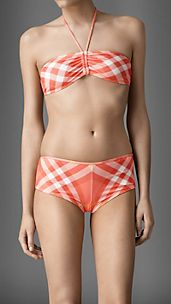 Gathered Bandeau Check Bikini