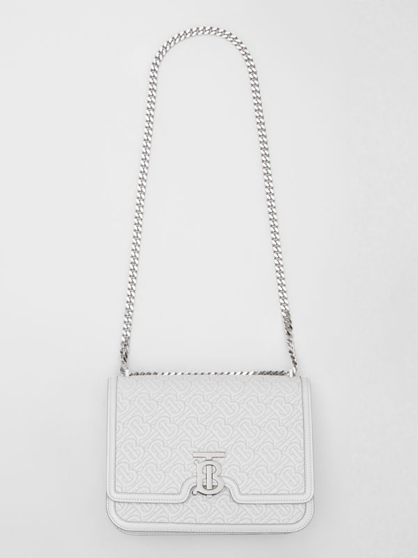 Medium Quilted Monogram Lambskin TB Bag in Light Pebble Grey - Women | Burberry Australia - cell image 3