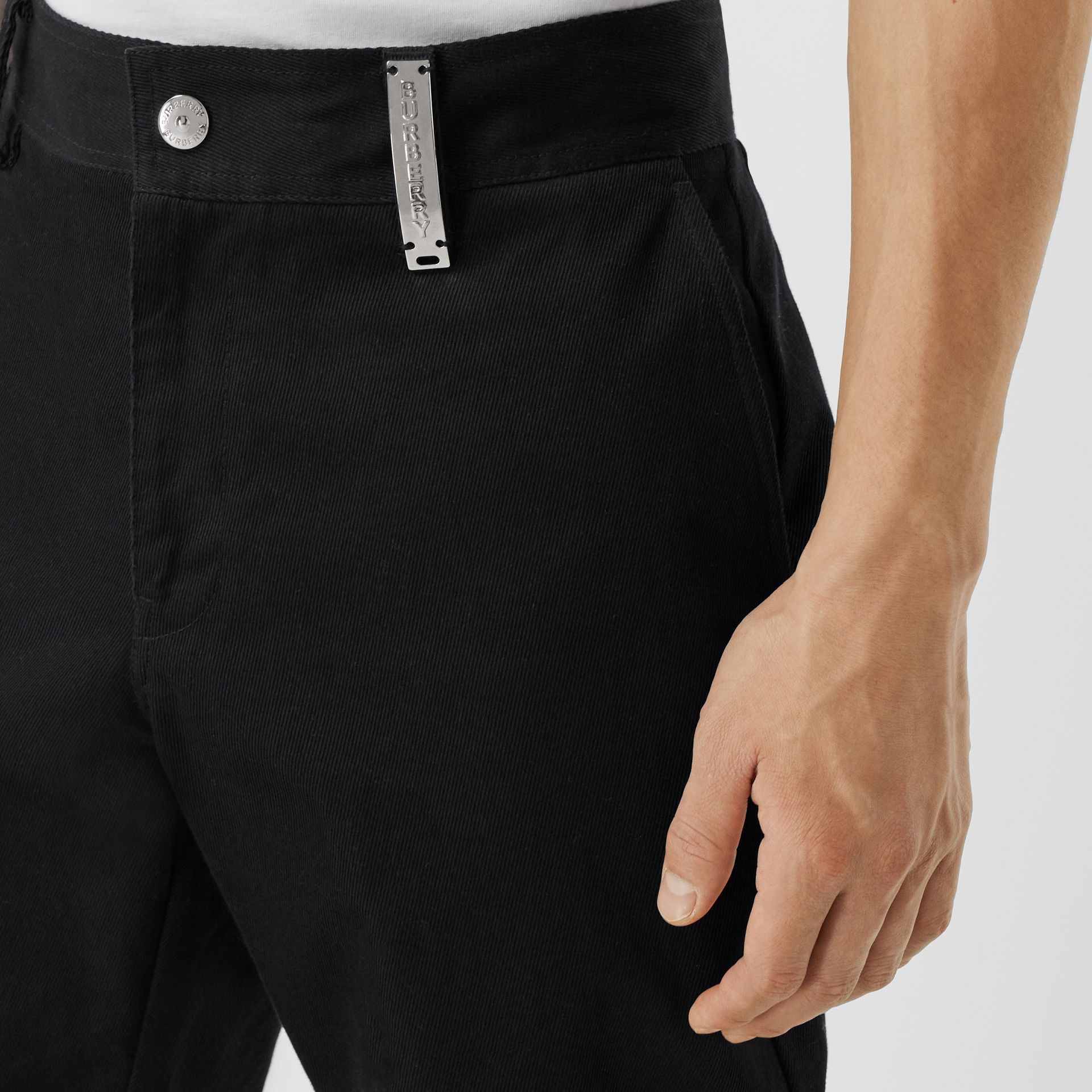 Straight Fit Logo Detail Cotton Chinos in Black - Men | Burberry Canada - gallery image 1