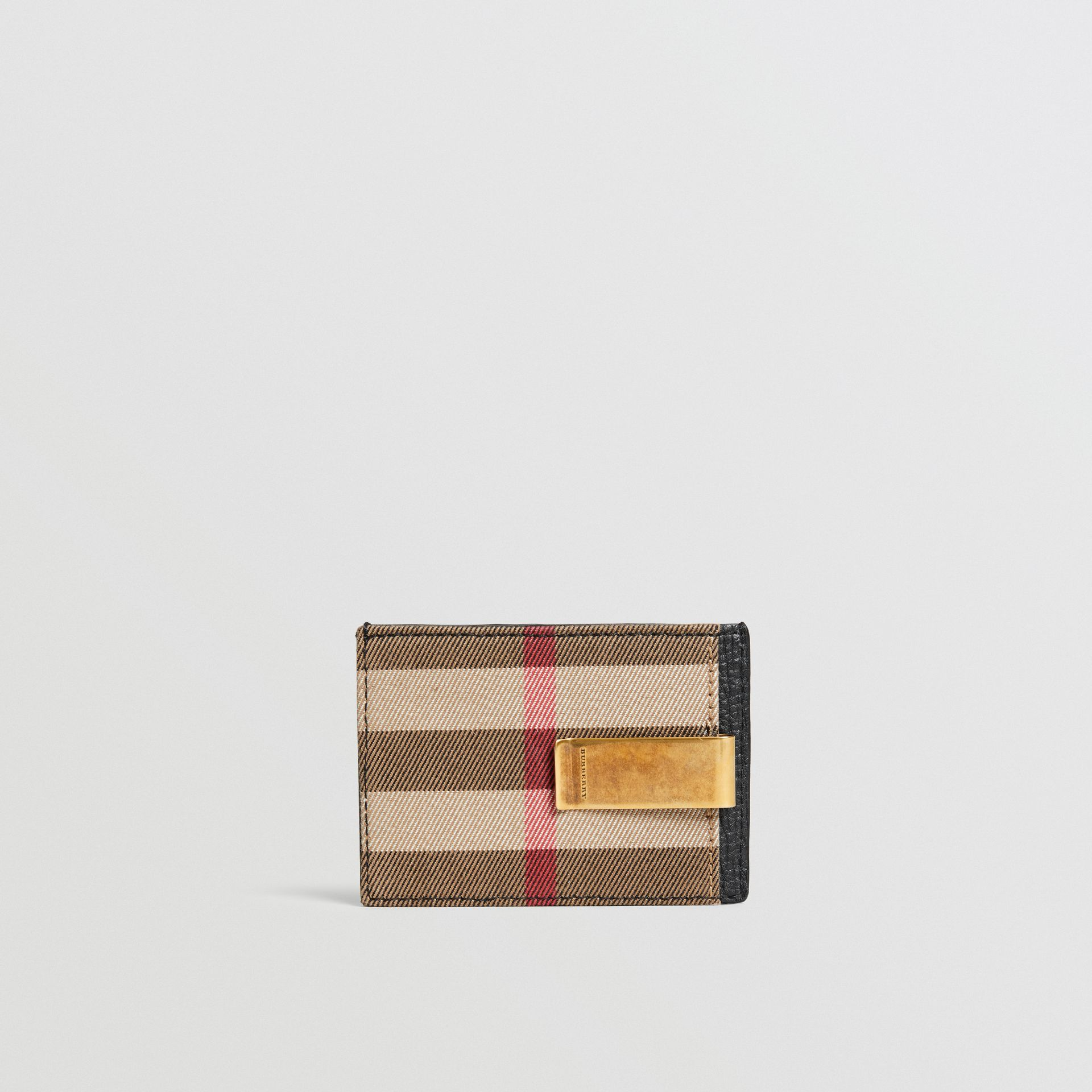 House Check and Leather Money Clip Card Case in Black - Men | Burberry - gallery image 2