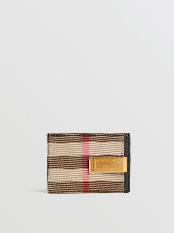 House Check and Leather Money Clip Card Case in Black - Men | Burberry - cell image 2