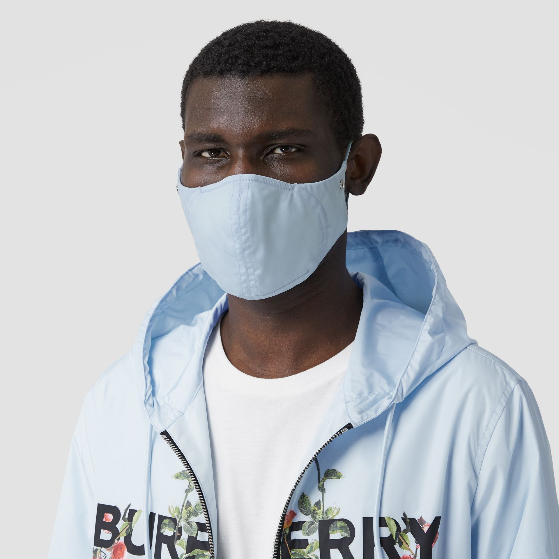 Logo Detail Cotton Face Mask in Pale Blue | Burberry - gallery image 3