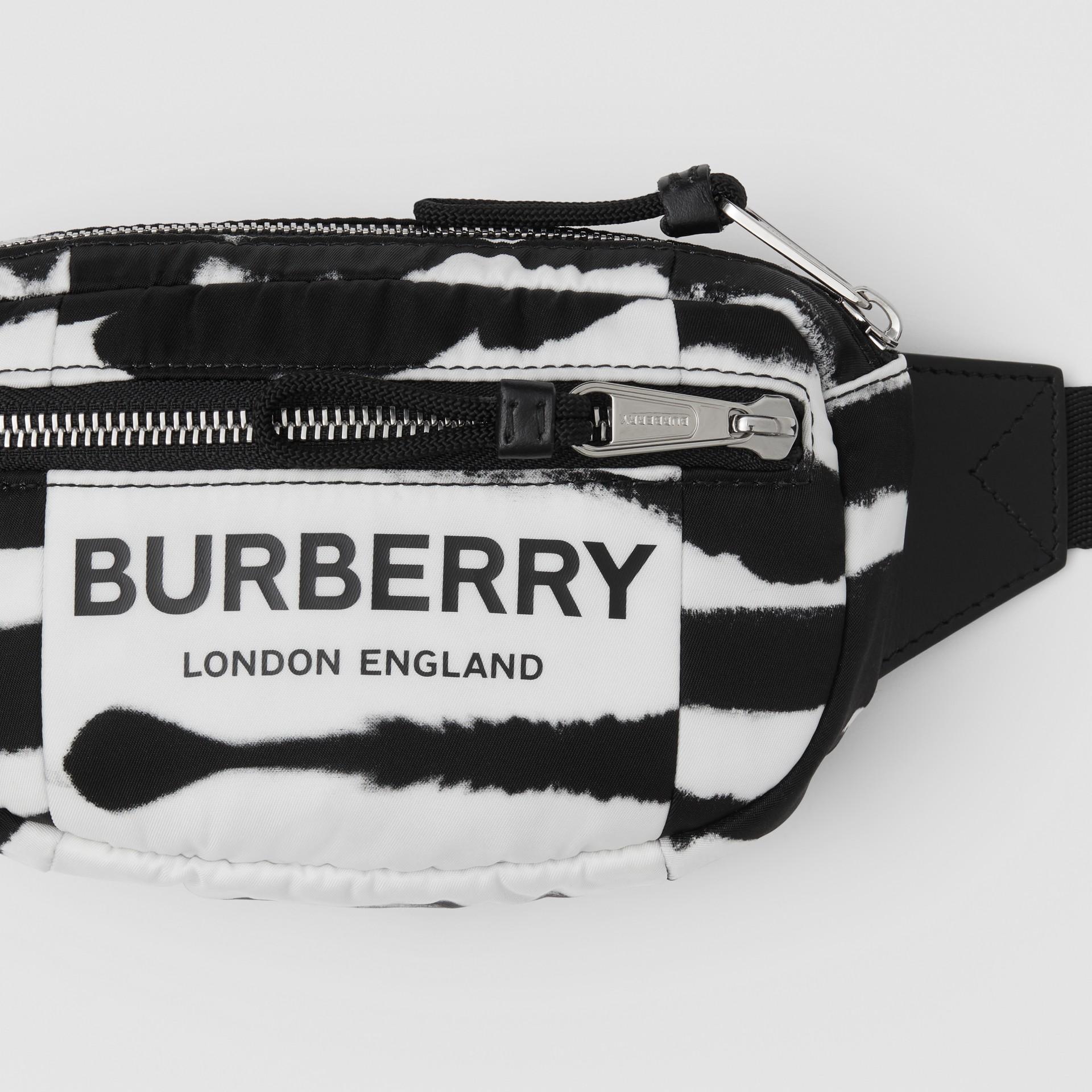Small Watercolour Print ECONYL® Cannon Bum Bag in Black/white - Men   Burberry - gallery image 6