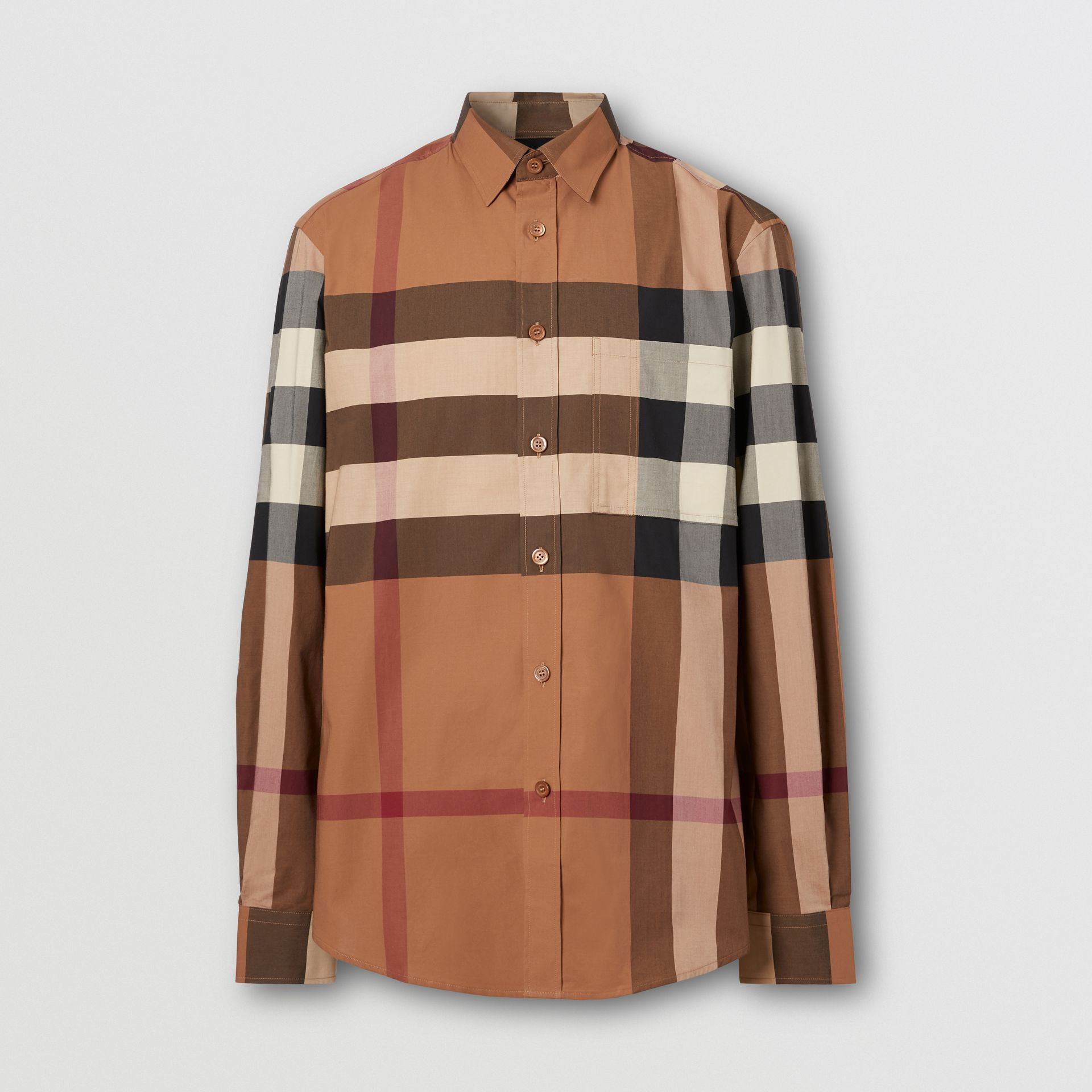 Check Stretch Cotton Poplin Shirt in Birch Brown - Men | Burberry - gallery image 3