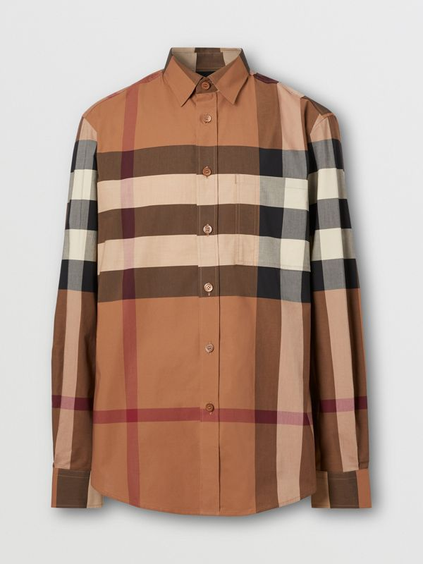 Check Stretch Cotton Poplin Shirt in Birch Brown - Men | Burberry - cell image 3