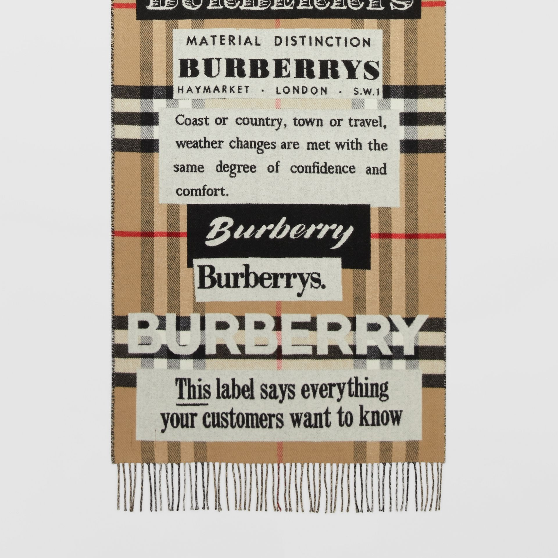 Archive Logo Cashmere Jacquard Scarf in Beige | Burberry - gallery image 4