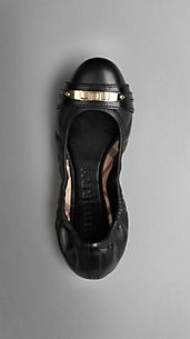 Lock Detail Leather Ballerinas