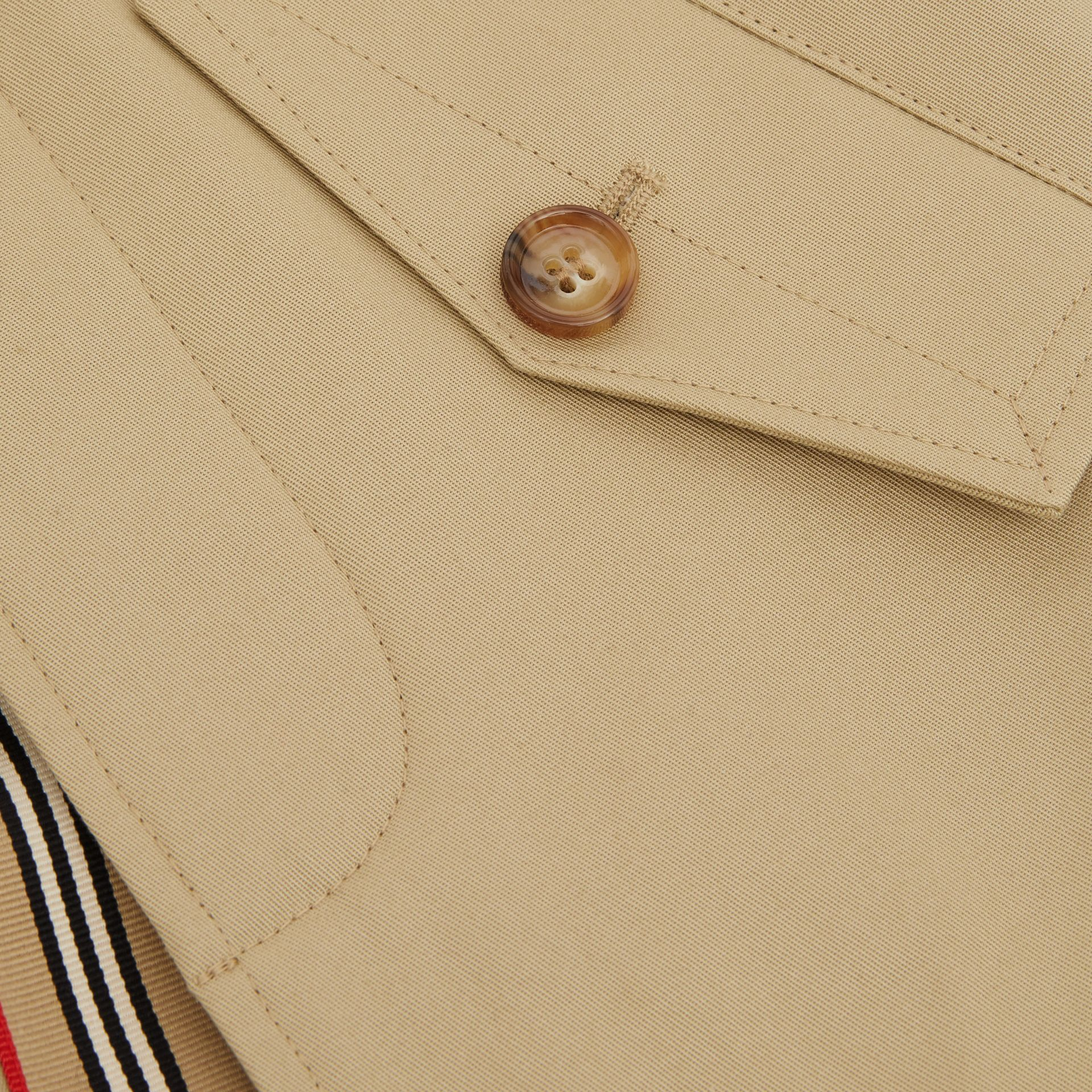 Detachable Hood Icon Stripe Trim Cotton Car Coat in Honey - Children | Burberry United Kingdom - gallery image 1