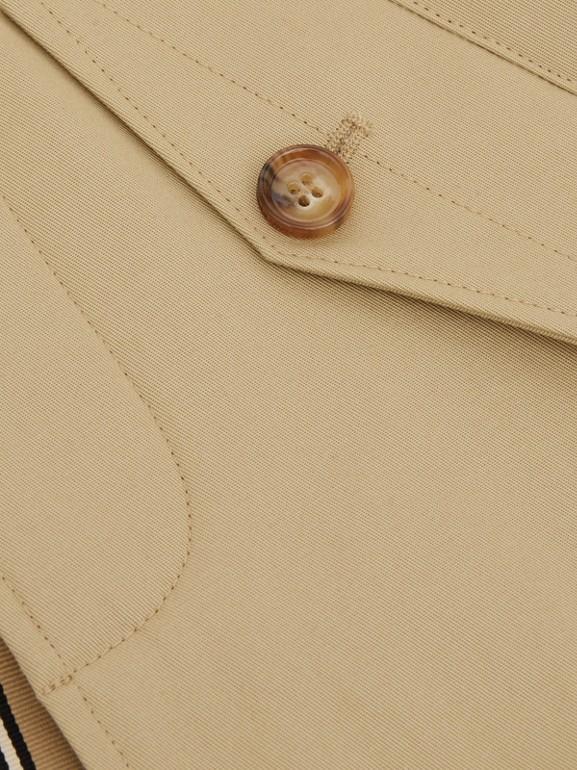 Detachable Hood Icon Stripe Trim Cotton Car Coat in Honey - Children | Burberry United Kingdom - cell image 1