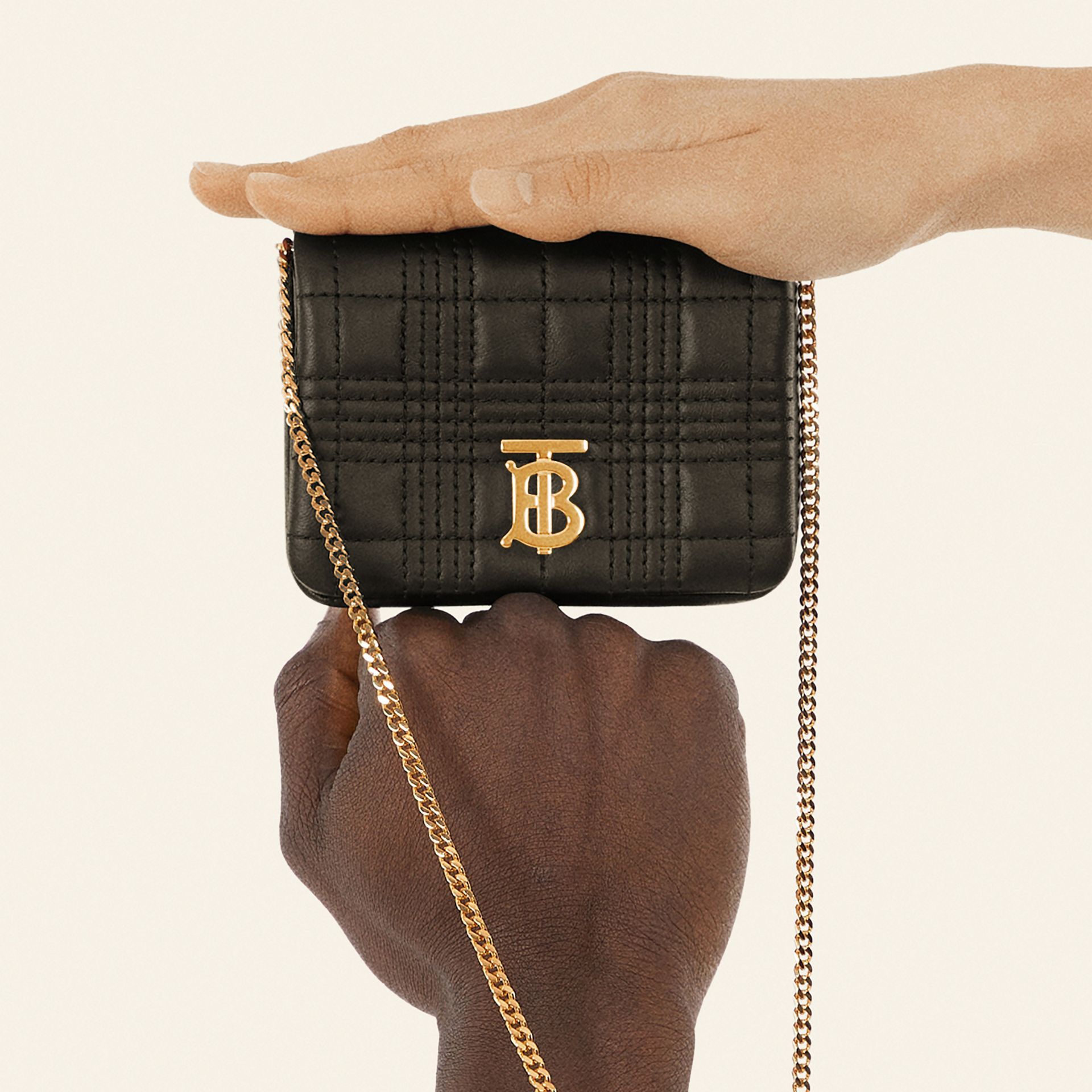 Micro Quilted Lambskin Lola Bag in Black - Women | Burberry - gallery image 3