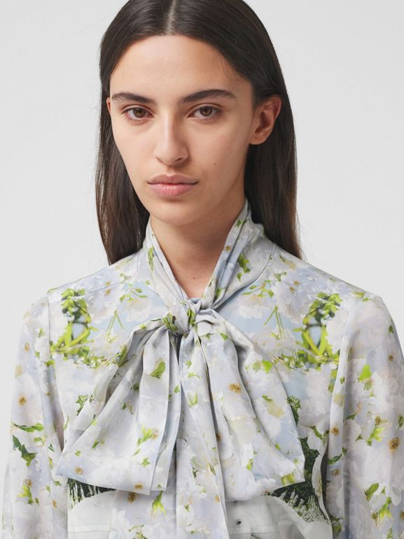 Meadow Print Silk Crepe De Chine Pussy-bow Blouse in White - Women | Burberry - cell image 1