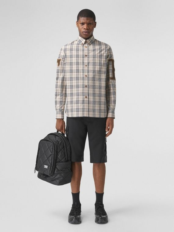 Letter Graphic Check Cotton Poplin Shirt in Soft Fawn