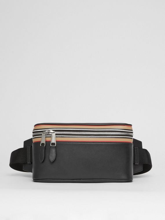 Icon Stripe Print Leather Cube Bum Bag in Black