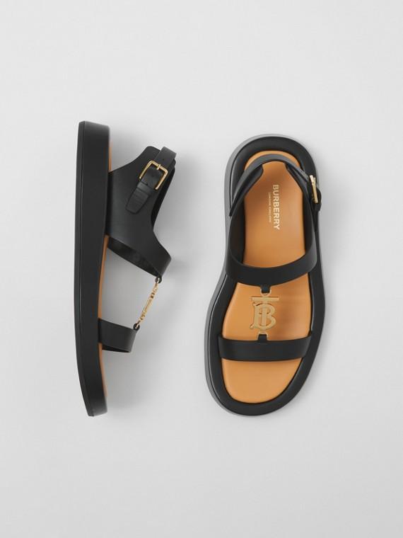 Sandales en cuir Monogram (Noir)