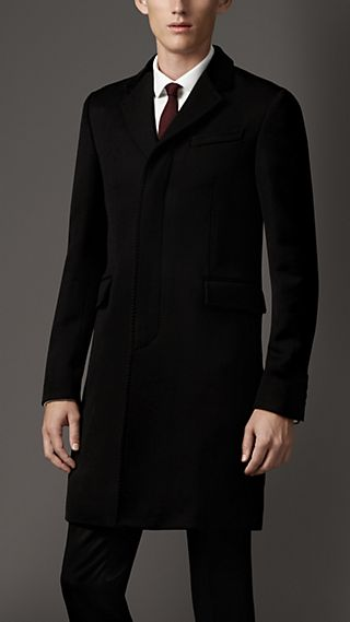 Velvet Detail Wool Twill Coat