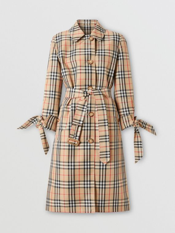 Car coat in poliestere riciclato con motivo Vintage check