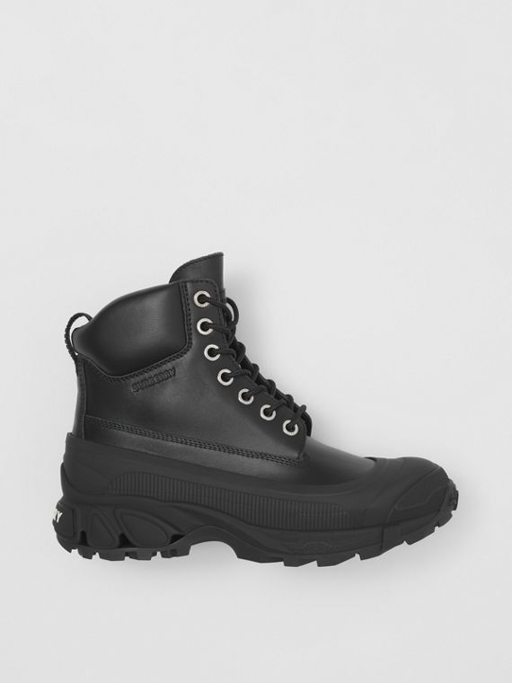 Lace-up Leather Boots in Black