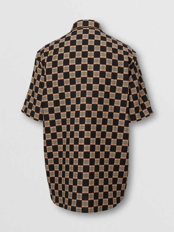 Short-sleeve Chequer Print Cotton Shirt | Burberry United Kingdom - cell image 1
