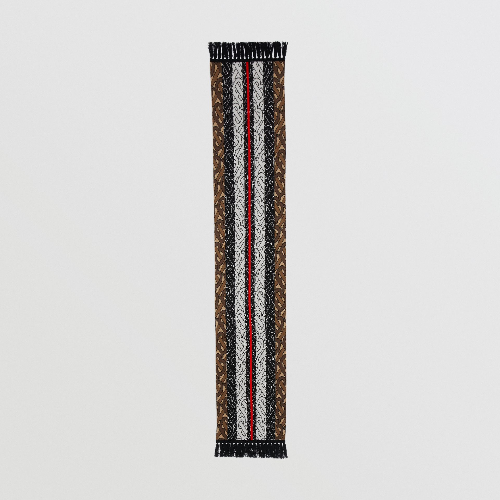 Monogram Stripe Cashmere Scarf in Brown | Burberry - gallery image 5