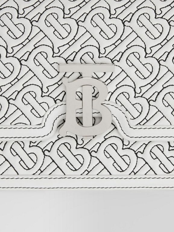Small Quilted Monogram Lambskin TB Bag in Optic White - Women | Burberry - cell image 1