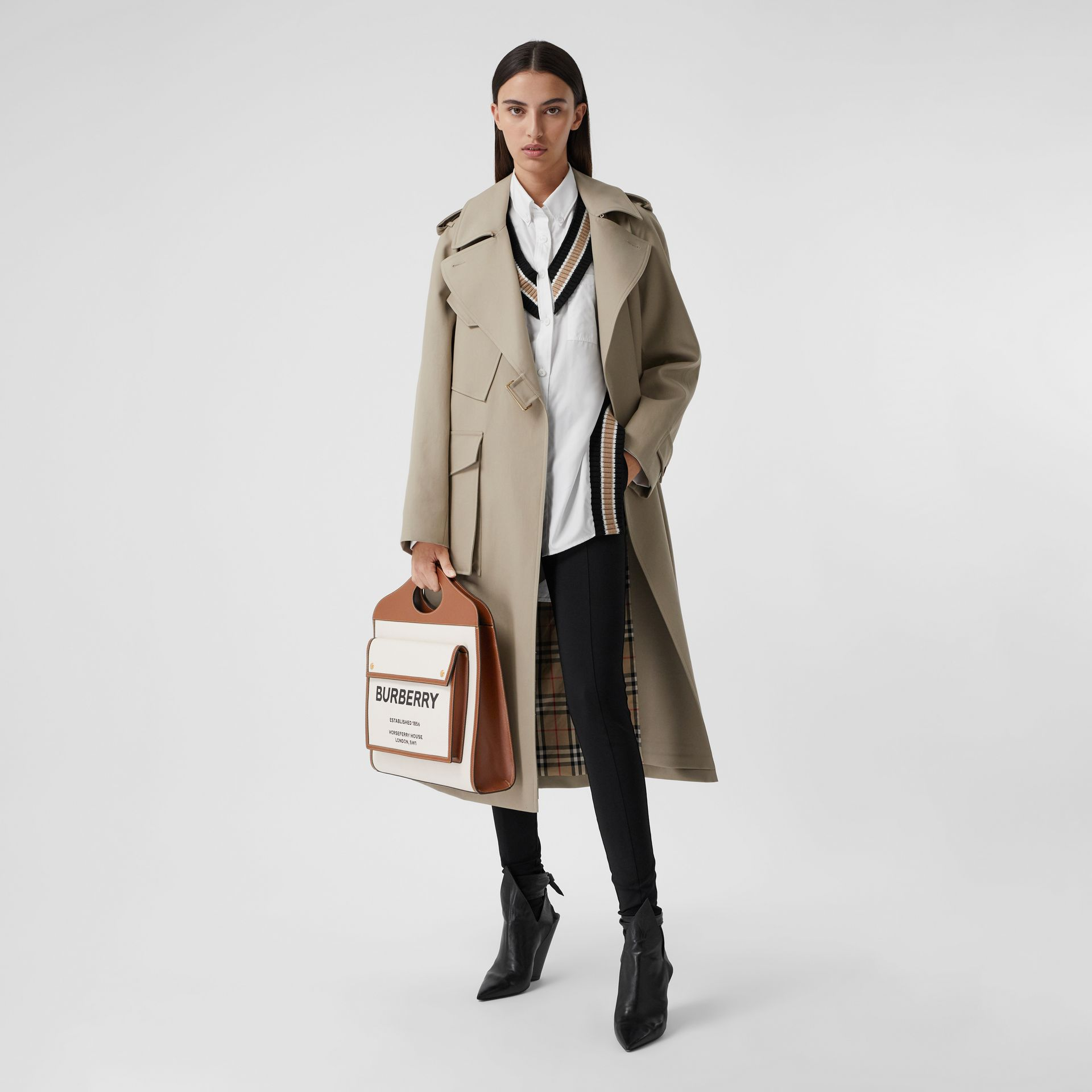 Medium Two-tone Canvas and Leather Pocket Bag in Natural/malt Brown - Women | Burberry - gallery image 6