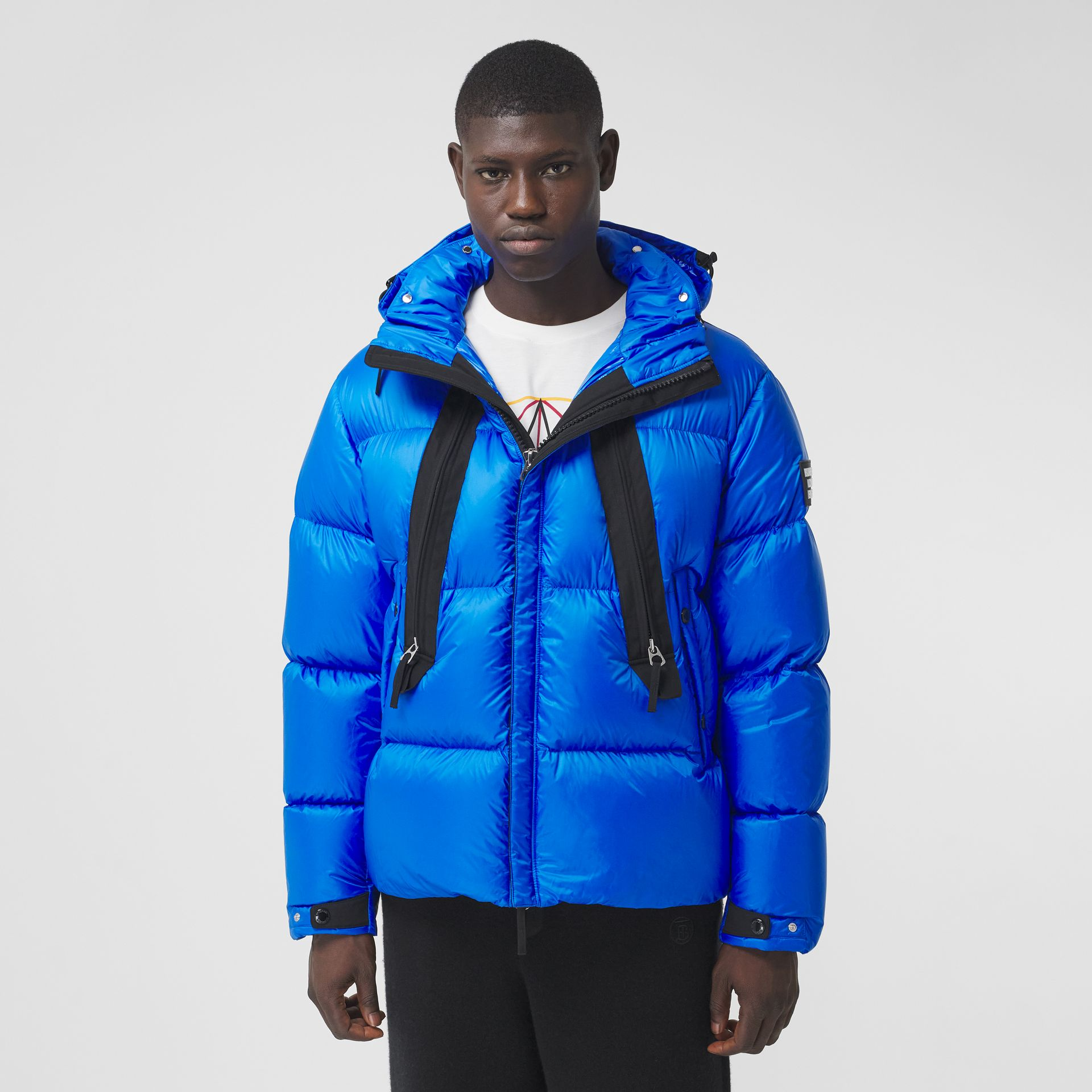 Packaway Hood Zip Detail Puffer Jacket in Canvas Blue - Men | Burberry - gallery image 4