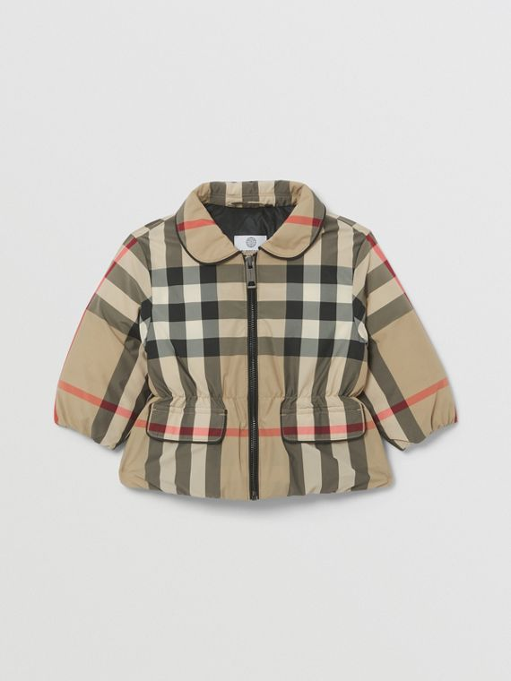 Down-filled Check Recycled Polyester Jacket in Archive Beige