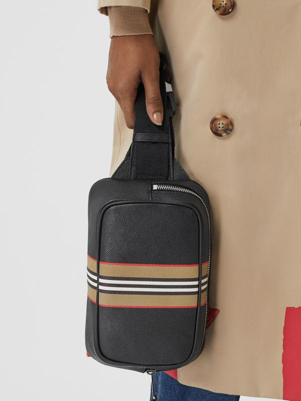 Icon Stripe Print Grainy Leather Bum Bag in Black - Men | Burberry - cell image 2