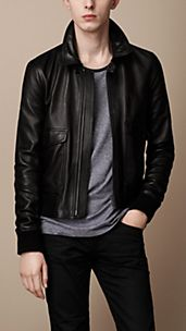 Burnished Lambskin Bomber