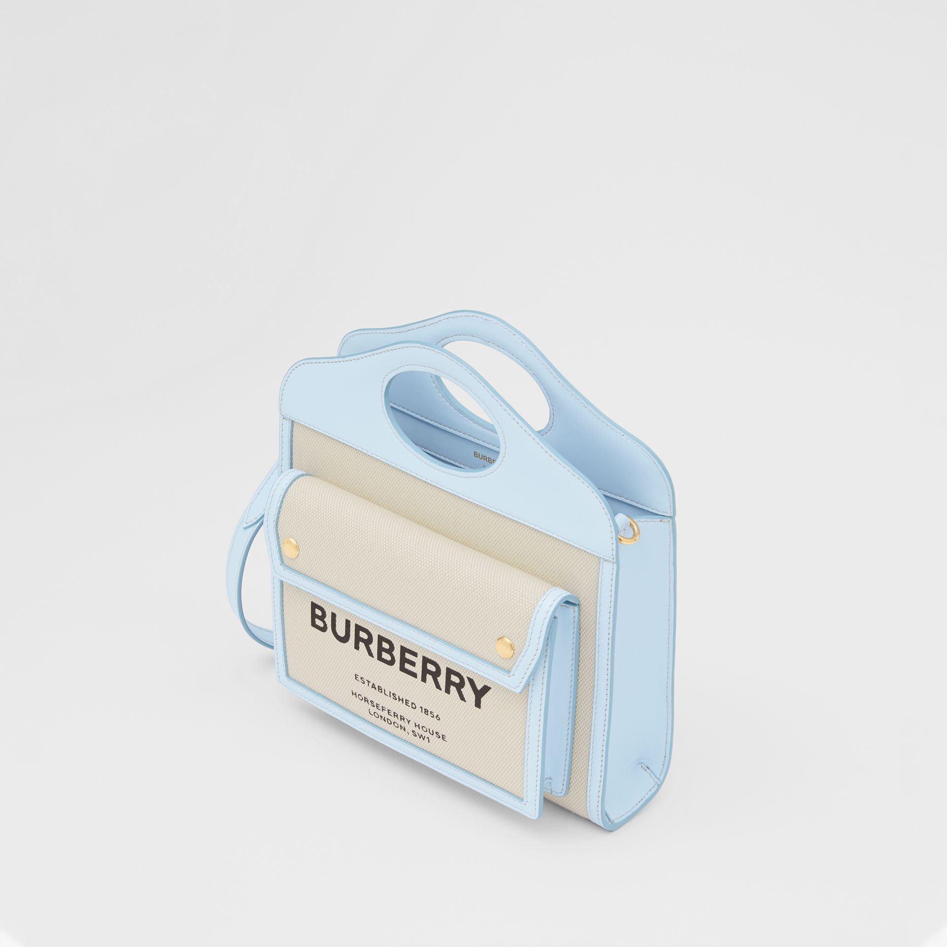 Mini Two-tone Canvas and Leather Pocket Bag in Natural/pale Blue | Burberry United States - gallery image 3
