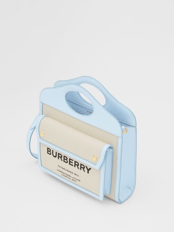 Mini Two-tone Canvas and Leather Pocket Bag in Natural/pale Blue | Burberry United States - cell image 3