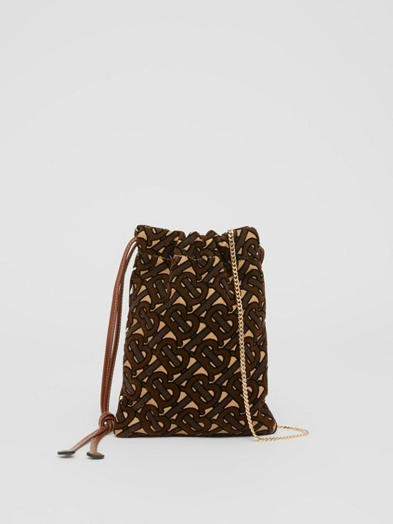 Small Monogram Flocked Lambskin Drawcord Pouch – Online Exclusive in Camel/buttermilk
