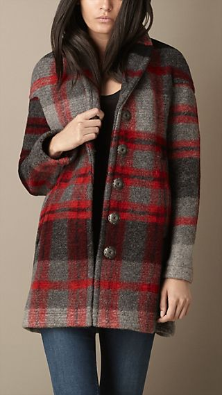 Check Wool Blend Coat