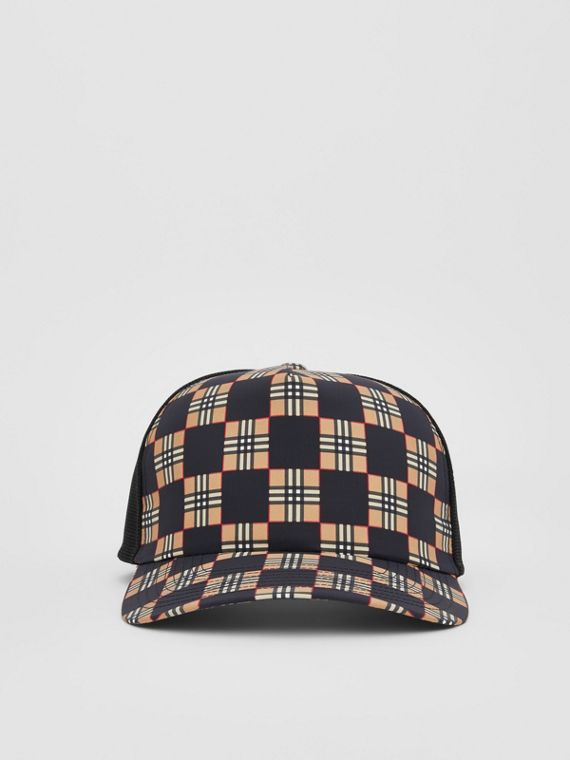 Chequer ECONYL® and Mesh Baseball Cap in Black/archive Beige