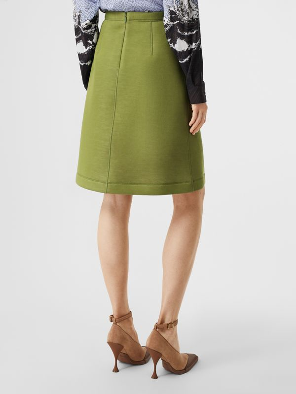 Double-faced Neoprene Skirt in Cedar Green - Women | Burberry United States - cell image 2